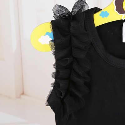 Комбинезоны для новорожденных; одежда для маленьких девочек; черное платье с бантом; милые хлопковые наряды с короткими рукавами; одежда для маленьких девочек