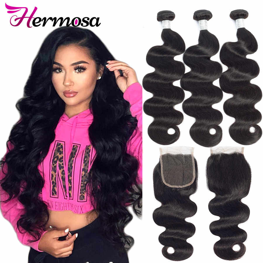 Hermosa Brazilian Body Wave Hair Weave 3 Bundles With Closure Double Weft Remy Human Hair Bundles With Closure