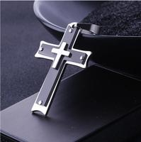 Classic Fashion Jewelry Catholic Black Cross Titanium Steel Necklace Pendant Unisex