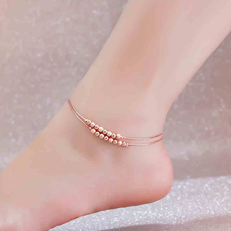 Real S925 Sterling Rose Color 2-layer Beads Anklet Women Fashion Charming Fine Foot Jewelry (SA107)