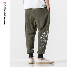 Fashion summer linen pants men Embroidery chinese style pattern cotton Trousers slim fit soft man B375-K81