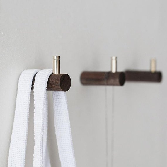 Wooden Wall Hooks Coat Hangers Beech Black Walnut Bag Hooks Hat Hangers Bath Towel Hook Hangers Curtain Tie Back Hooks in Cabinet Pulls from Home Improvement