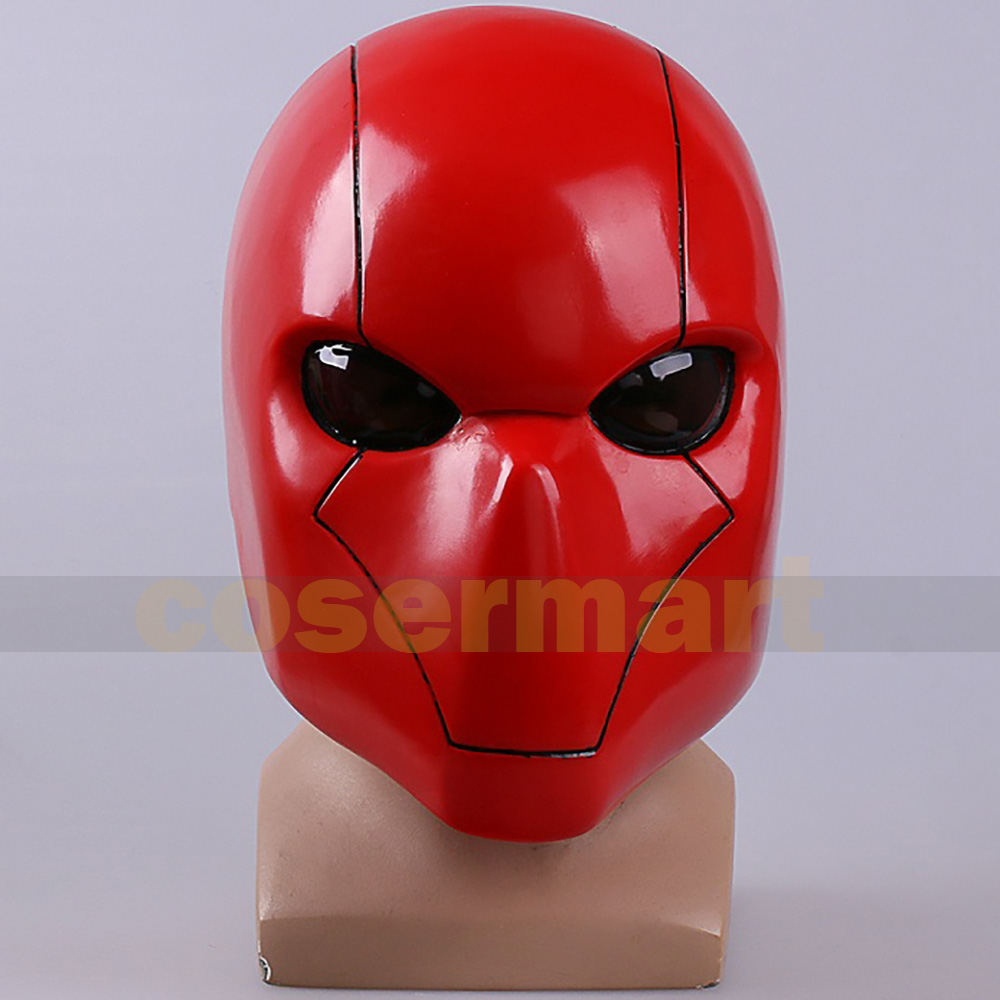 2016 Cosplay Red Hood Maschera Batman Red Hood Casco Full Head PVC Cosplay Costume Prop Replica Fancy Party Headwear