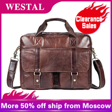 WESTAL men's bag genuine leather briefcase men