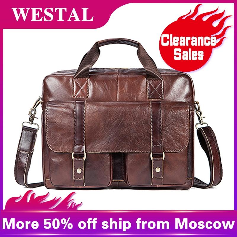 WESTAL Men's Bag Genuine Leather Briefcase Men Bag For Document Leather Laptop Bag 14'' Office Bags For Men Messenger Bags 7804