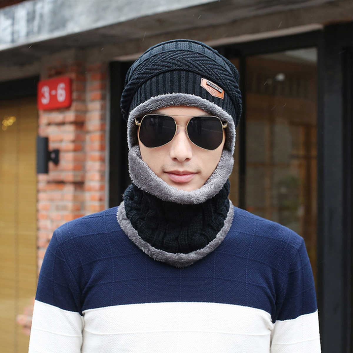 Hiking Caps Hat Knit Hat+Bib Unisex for Men Women Fashion Stretch Cable Knit Lined Thick Warm Winter Wool Slouchy Beanie Cap