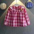 Crianças Dos Desenhos Animados Designer Pere pan Colarinho Xadrez Roupas Meninas Usam As Coisas das Crianças Camisetas Tees Tops para Meninas Crianças meninas