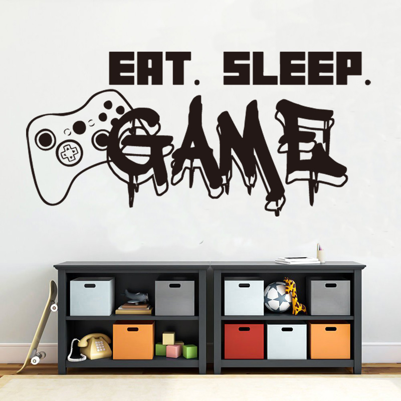 Gamer wall decal Eat Sleep Game Controller video game decals Customized For Kids Teen Bedroom Vinyl Wall Art Decals  Z323
