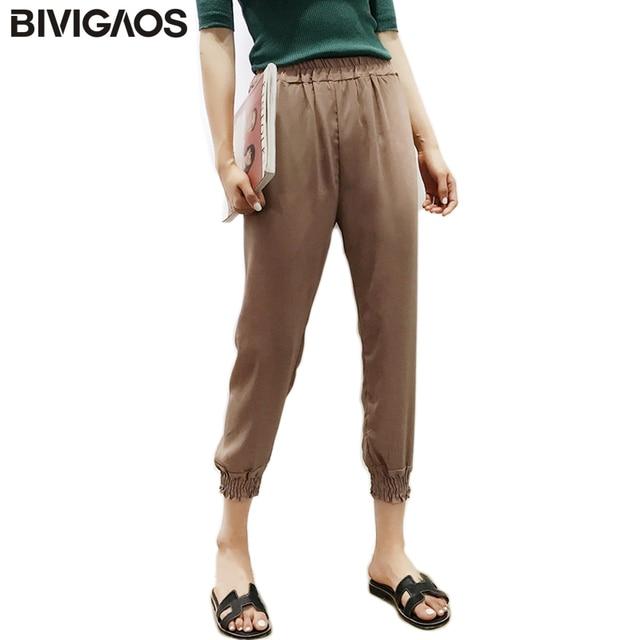 b29927854e BIVIGAOS Verano Nueva Gasa de Las Mujeres Pantalones Harem Linterna Delgada  Tobillo Anillados Pantalones Elásticos de
