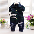 Baby Boys/Girls Children Clothing Fashion Spring Autumn Brand Long Sleeve Plaid Shirt+Trousers Suit for Toddler Boys Clothes Set