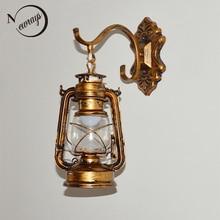 Vintage retro bronce hierro linterna keroseno lámpara de pared E27 para pasillo baño bar vanidad noche luces accesorio sconce dormitorio