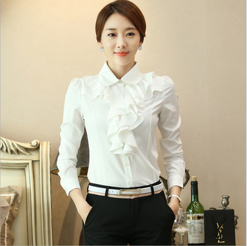 New Women Chiffon Blouse Long Sleeve Shirt Female Professional Lace Tops OL
