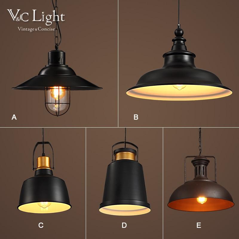 Industrial Mental Pendant Lights Black Vintage Lustre Restaurant Kitchen Bedroom Retro Lamp Hanging Lighting Fixtures Luminarie