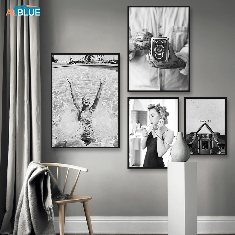 Swimming Girl Vintage Camera Wall Art Black White Canvas Painting Nordic Poster And Prints Modern Wall Pictures For Living Room