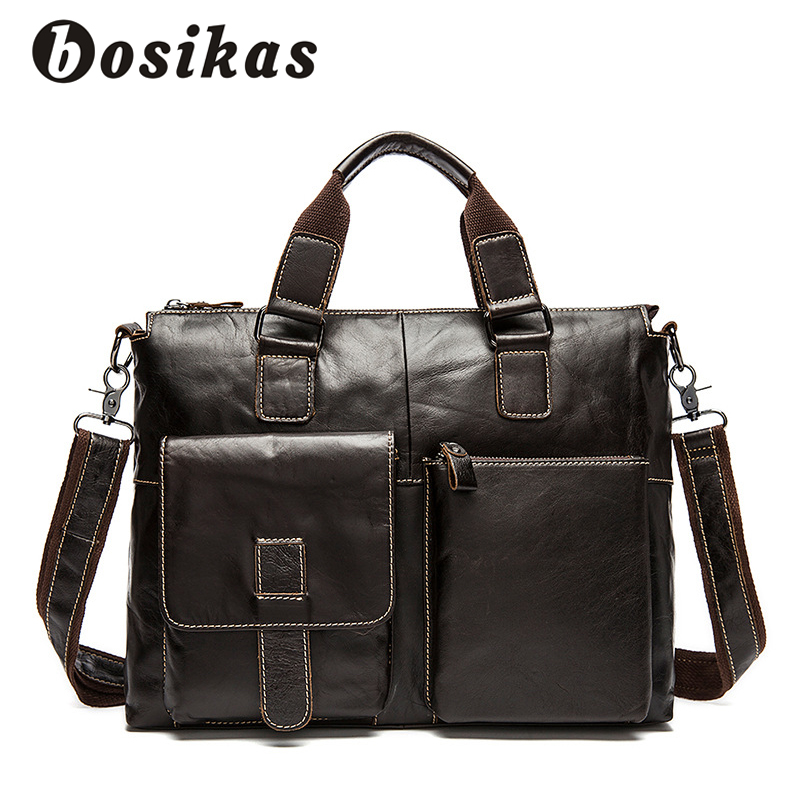 BOSIKAS Genuine Leather Men Briefcases Solid Leather Laptop Messenger Bags Men's Casual Shoulder Bag Business Laptop Bags New