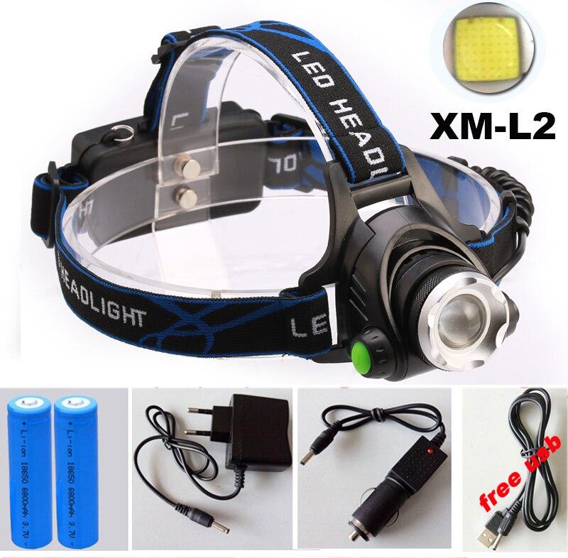 8000LM HeadLight headLamp CREE XM-L2 LED Lamp Flashlight Light L2 Headlamp 3 mode led light + AC / Car charger + 2*18650 Battery