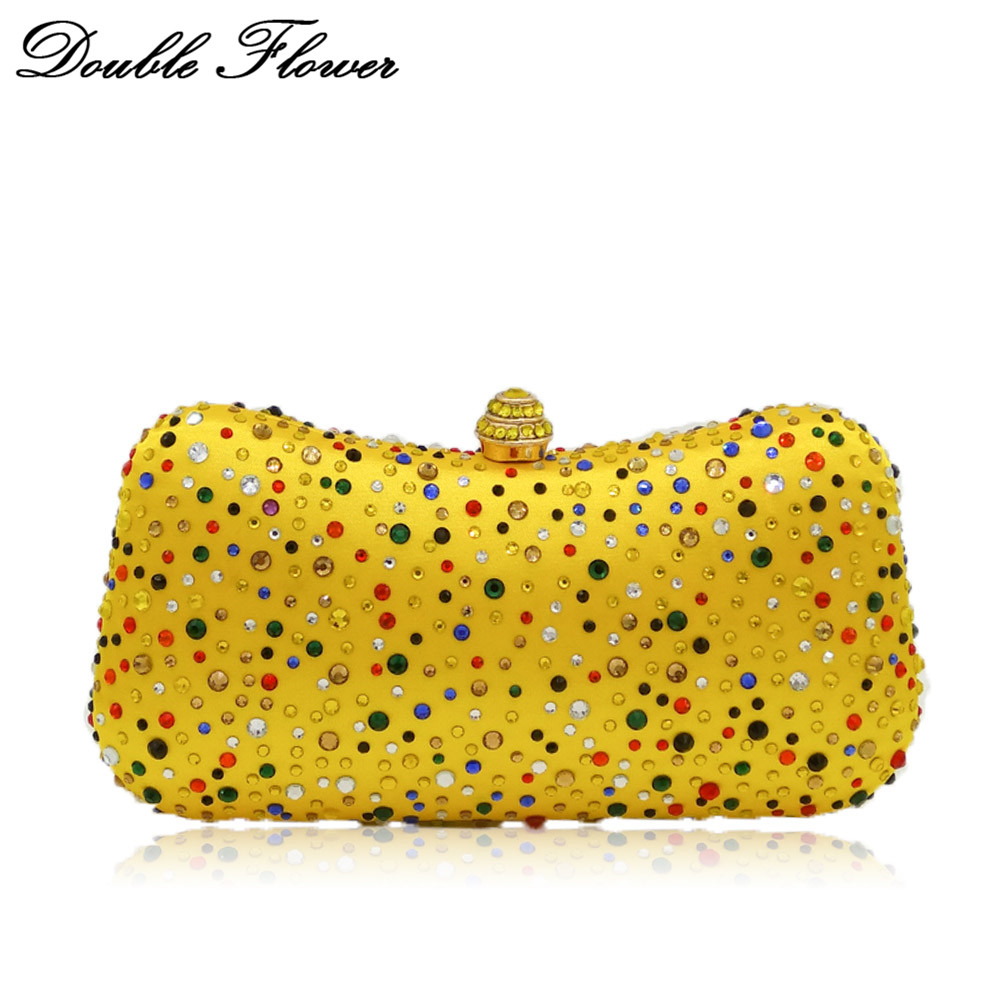 Double Flower Multicolored Crystal Women Evening Bags Metal Clutch Wedding Party Cocktail Yellow Chain Shoulder Handbag PurseDouble Flower Multicolored Crystal Women Evening Bags Metal Clutch Wedding Party Cocktail Yellow Chain Shoulder Handbag Purse