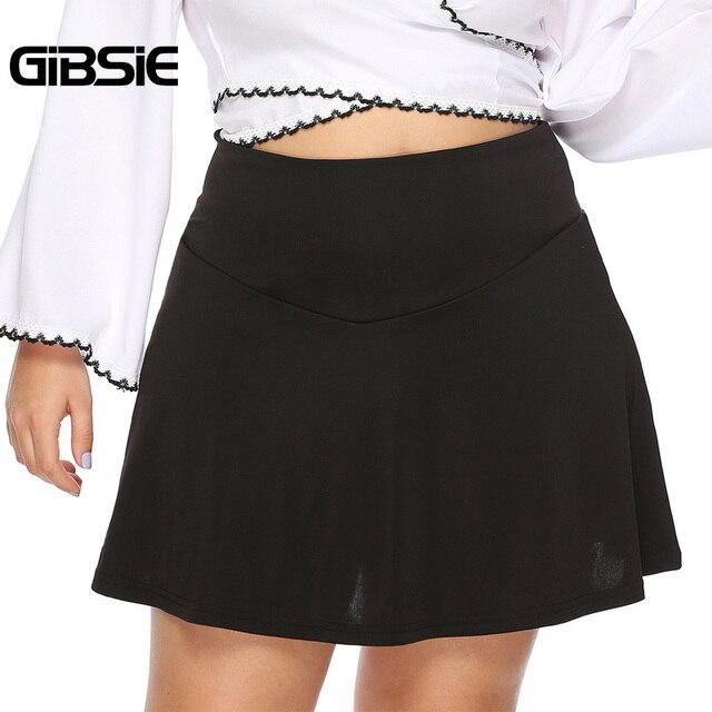 GIBSIE Plus Size Black Elegant Sexy Office Lady A Line Skirt Women 2019 Summer Casual High Waist Mini Skirts Female Big Size