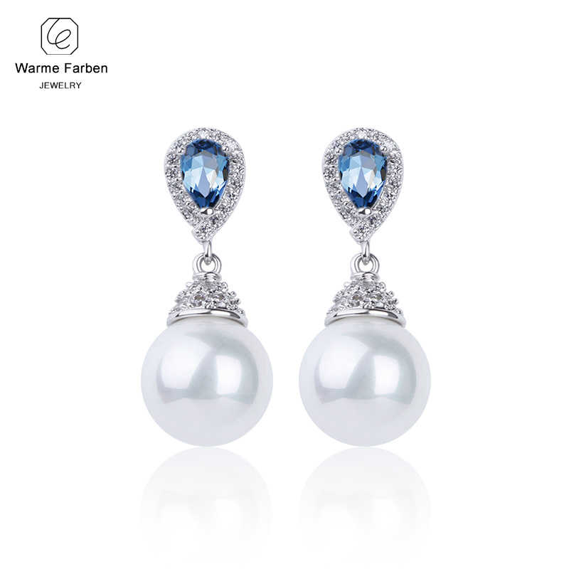 2019 Sliver 925 Earrings for Women Made With Swarovski Crystal Elegant Pearl Drop Earrings Fashion Jewelry Earrings for Wedding