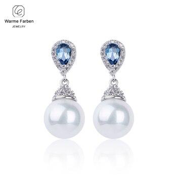 360b99885061 2019 pendientes de plata 925 para mujer hechos con cristal de Swarovski  elegantes pendientes de gota ...