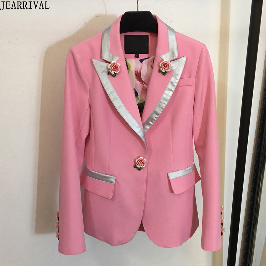 Brand Deigner Single Rose Button Blazer Women Jackets 2019 Spring Fashion Floral Lining Slim Casual Office Suits Pink Jacket