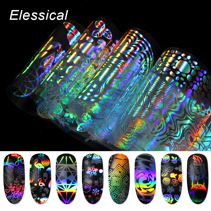 ELESSICAL 8pcs/lot Holographic Transfer Nail Foil Geometric Unicorn Pattern Nail Art Sticker Laser Flower Decals Nail Decoration hot sale 20 sheets lot 20 4cm nail art transfer foil floral serial sexy black lace pattern nail sticker foil material diy wy188