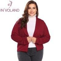 IN'VOLAND Women Blazer Coat Plus Size XL 5XL Autumn Winter Shawl Lapel Long Sleeve Open Front Casual Jacket Suit Tops Big Size