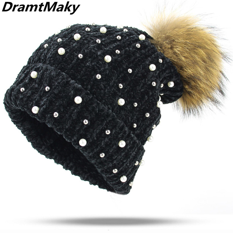 e0e301041 Fashion Pearl Wool Beanies Women'S winter hats Real Natural Fur Pom Poms  Knitted Hat Girls Female Beanie Cap Pompom for Women