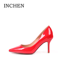 INCHEN Wedding Pumps Sexy Pointed Toe Thin High Heels Shallow Ladies Pumps PU Patent Leather Yellow