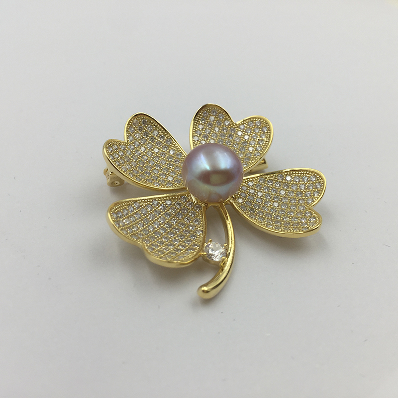 Sinya Natural Pearl Four leaves design Brooch lucky Clover Gold plated Brooches New arrival 2018 pink purple white optional (11)