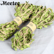 1Roll/10meters Jute Yarn Flower Leaf Lace Ribbon Wedding Gift Bouquet Packaging Ribbons DIY Crafts Accessories KY2068