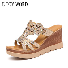 E TOY WORD Plus Size 34-43 rhinestones sandals women 2019 Summer high heel slipper platform wedges women slippers fashion Gold qzyerai summer 2018 european style sexy hollow metal heel high heel shining sequins a word band sandals gold size 34 39