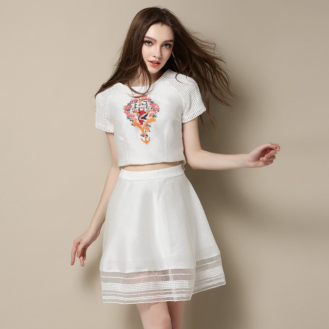 21511060ff8 Europe Women Suits With Skirts New Female Skirt Sets Summer T-shirt  Embroidery Skirt Suit Women Set Clothing Free Shipping