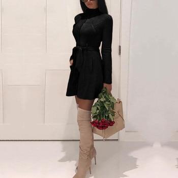 Для женщин теплые зимние водолазка Тренч шерсть с длинным Повседневное тонкий однотонная Верхняя одежда Топы имитация бархатной кожи