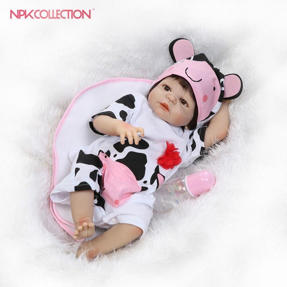 NPK reborn doll with soft real gentle  touch handmade full vinyl doll lifelike newborn baby Christmas Gift sweet baby