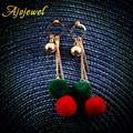 Ajojewel Geometric Metal Circle Color Hairball Tassel Earrings Gold Plated Long Drop Earrings For Women 2016 Cute Gift