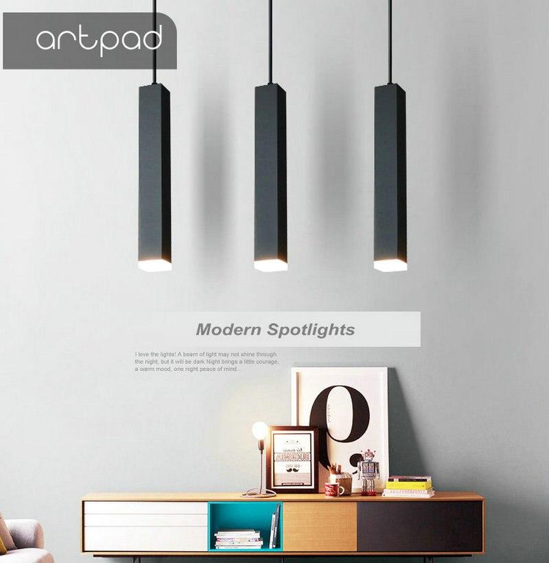 Artpad Nordic Modern Square Long Cube Pendant Light AC220V 3W/7W/12W Black White Minimalist Pendant Lamp Spotlights for Office|Pendant Lights| |  - title=
