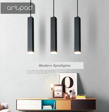 Artpad Nordic Modern Square Long Cube Pendant Light AC220V 3W/7W/12W Black White Minimalist Lamp Spotlights for Office