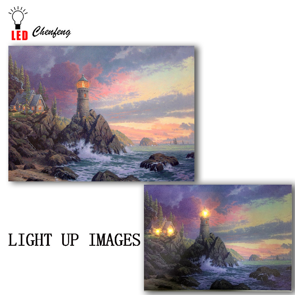 Painting & Calligraphy Home Decor Led Canvas Print Artwork Lighted Up Wall Art Coastal Lighthouse Seascape Oil Painting Christmas New Year Decorative Kids Gift