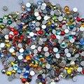 Frete Grátis! 1440 pçs/lote, ss3 (1.3-1.5mm) Cores Misturadas Plano Voltar Nail Art Cola Na Non Hotfix strass