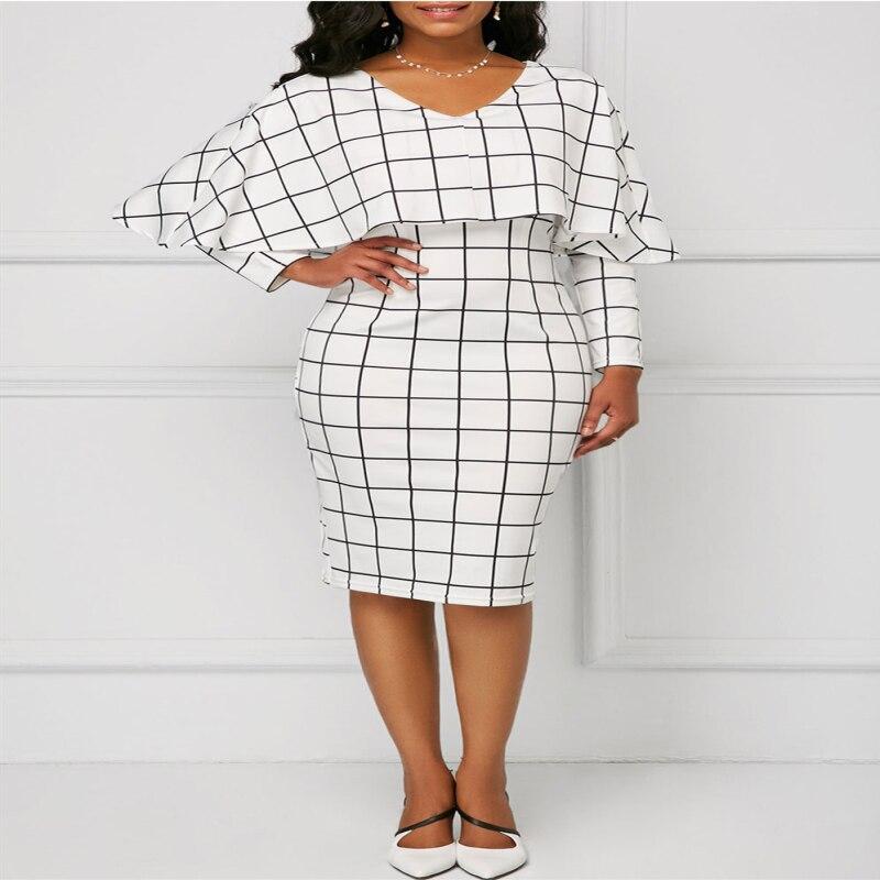Vintage women's spring autumn fashion elegant V-neck overlay dress Chic design overlay printed plaid long sleeve casual dress