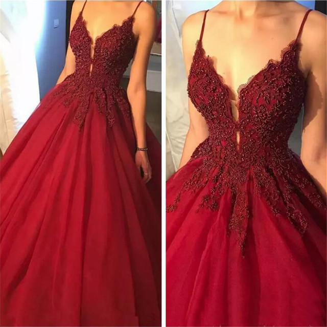 Burgundy Ball Gown Evening Dress 2019 Spaghetti Strap Beaded Appliques Tulle Long Formal Prom Gowns Custom Made Party Dresses