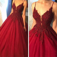 Burgundy Ball Gown Evening Dress 2018 Spaghetti Strap Beaded Appliques Tulle Long Formal Prom Gowns Custom Made Party Dresses