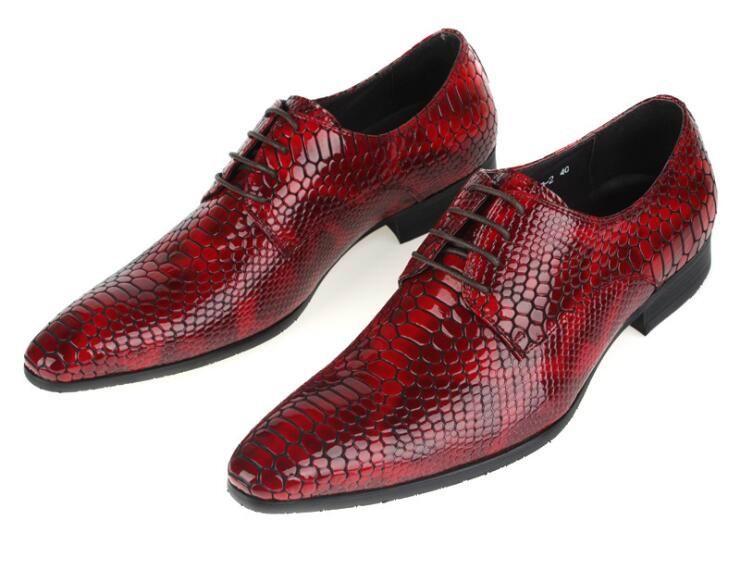Señaló Toe Negro Zapatos Serpiente De Negro Cuero Partido Python Hombres 37 Errfc Ocio Rojo rojo Patrón Moda Personalidad 44 Diseñador Lujo qOP1v