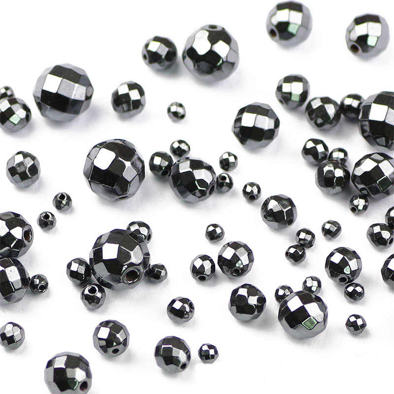 4mm 5mm 6mm 8mm Black Stone Beads Faceted Black Hematite Gall Stone Beads Spacer Flat Loose Beads Beads for Jewelry Making