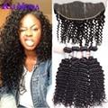 8A Malaysian Curly hair 3/4 Bundles With Ear to Ear Lace Frontal Closure Malaysian Virgin hair With Closure 100% Human hair