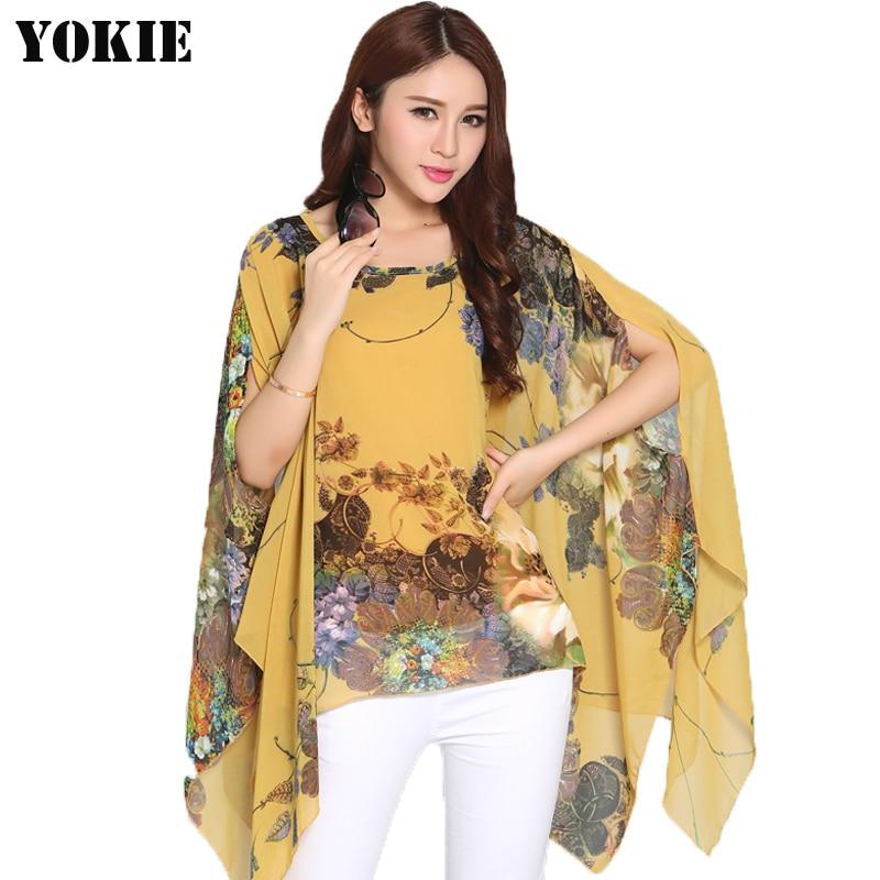 2016 новый летний стиль женщины блузки шифоновые рубашки печатные топы blusas woman vetement femme сорочка цветок batwing длинный женский