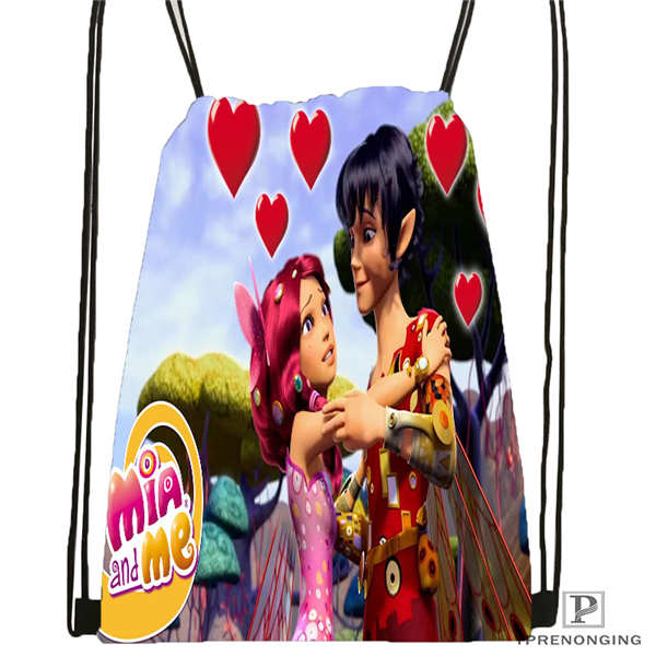 Custom Mia-And-Cartoon Me@1-Drawstring Backpack Bag For Man Woman Cute Daypack Kids Satchel (Black Back) 31x40cm#20180611-03-140