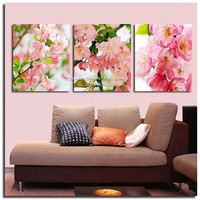 New Fashion Pink Flowers Triptych 3D Diamond Painting Resin Square Full Drill Embroidery Modern Drawing Decoration