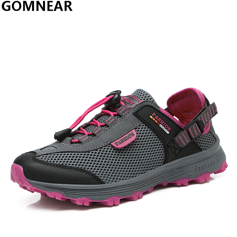 ФОТО GOMNEAR Women's Breathable Wading Shoes Outdoor Antiskid Walking Upstream Shoe Lightweight Water Shoe for Women Training Sneaker